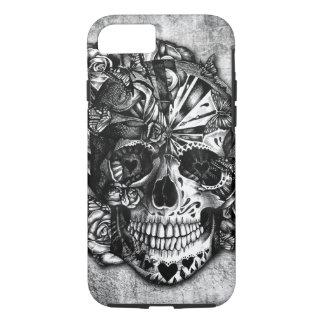 Cráneo del azúcar del caramelo del Grunge en Funda Para iPhone 8/7
