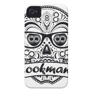 Cráneo del azúcar negro y blanco con los vidrios funda para iPhone 4 de Case-Mate