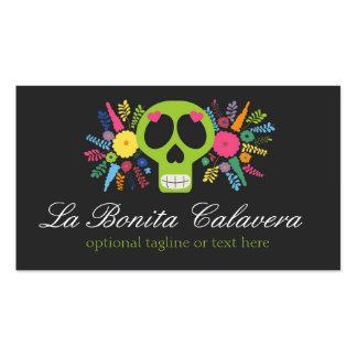 Cráneo del azúcar y floral mexicanos - La Bonita Tarjetas De Visita