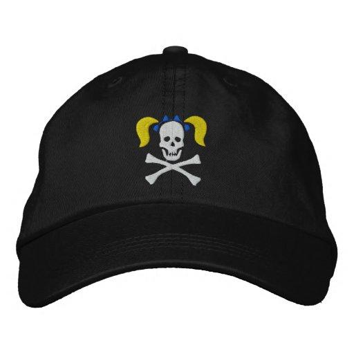 Cráneo del chica con el casquillo bordado coletas gorra de beisbol bordada