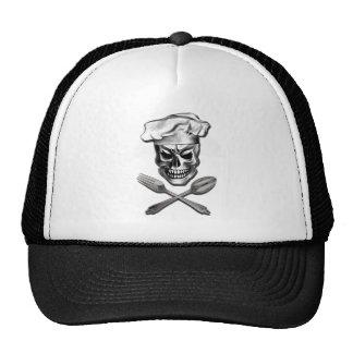 Cráneo del cocinero con la bifurcación y la cuchar gorras de camionero