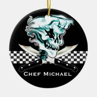 Cráneo del cocinero del fantasma adorno redondo de cerámica