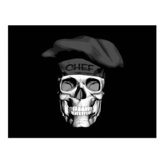Cráneo del cocinero del gorra negro postal