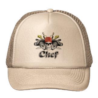 Cráneo del cocinero y utensilios de cocinar gorras de camionero