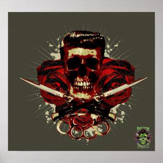 Cráneo del engrasador póster
