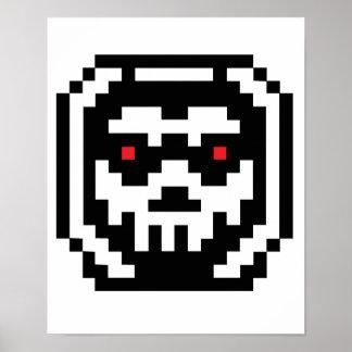 Cráneo del esqueleto del pixel impresiones