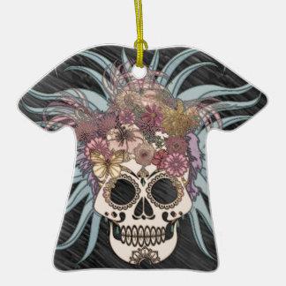 Cráneo del Hippie, azul Adorno De Cerámica En Forma De Camiseta