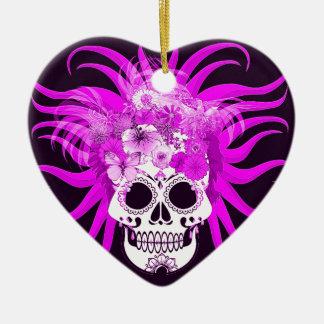 Cráneo del Hippie, rosado Adorno De Cerámica En Forma De Corazón