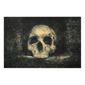Cráneo del horror de Halloween Impresión En Madera