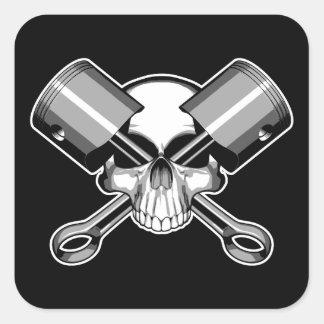 Cráneo del mecánico: Pistones cruzados Pegatina Cuadrada