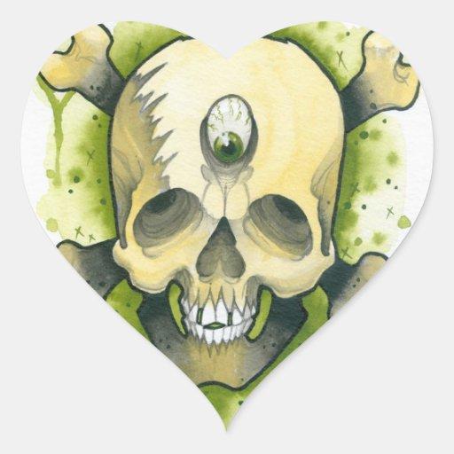 cráneo del mutante pegatina corazon personalizadas