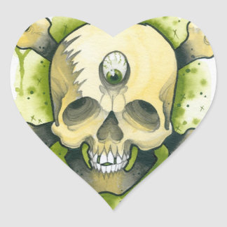 cráneo del mutante pegatina en forma de corazón