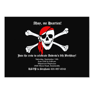 Cráneo del pirata e invitación de la bandera