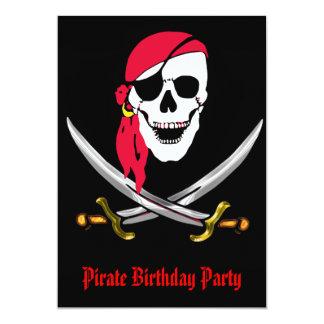 Cráneo del pirata y fiesta de cumpleaños de las invitación 12,7 x 17,8 cm