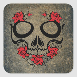 Cráneo del rosa rojo pegatina cuadrada