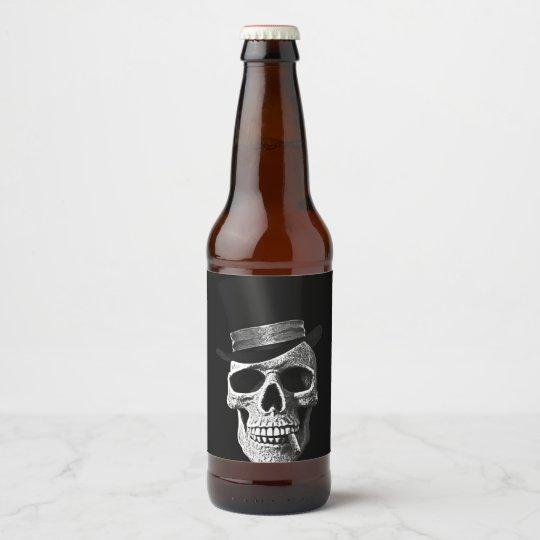 Cráneo del sombrero de copa etiqueta para botella de cerveza