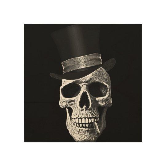 Cráneo del sombrero de copa impresión en madera
