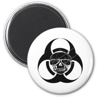 Cráneo del tatuaje del Biohazard Imán Redondo 5 Cm