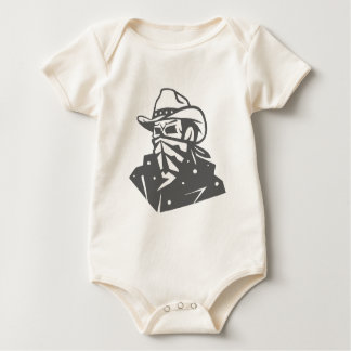 Cráneo del vaquero con el pañuelo y el gorra body para bebé