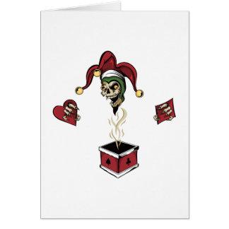 Cráneo del zombi del comodín de la caja del póker tarjeta de felicitación