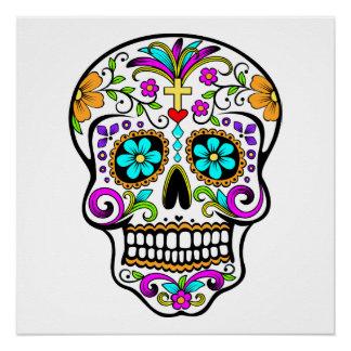 """Cráneo """"día del azúcar"""" del poster muerto"""