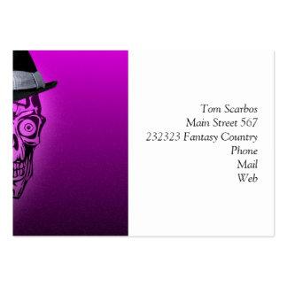 cráneo elegante con el gorra, rosa fuerte (c) tarjetas de visita grandes