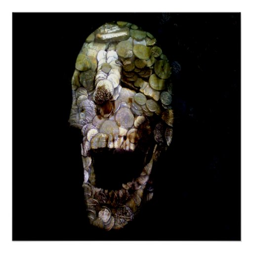 Cráneo épico #2 de la moneda de la bandera posters