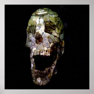 Cráneo épico 2 de la moneda de la bandera posters