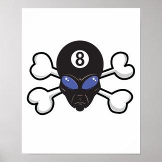 cráneo extranjero y bandera pirata de ocho bolas poster
