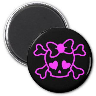 Cráneo femenino rosado del emo con el arco imanes