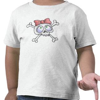 Cráneo femenino y huesos cruzados camiseta