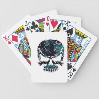 Cráneo floral azul de Halloween Cartas De Juego