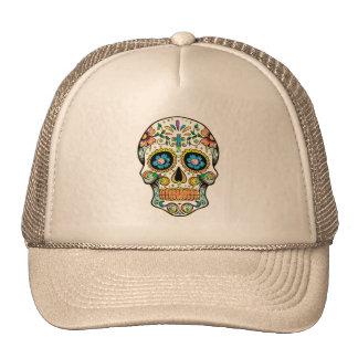 Cráneo floral colorido del azúcar gorros