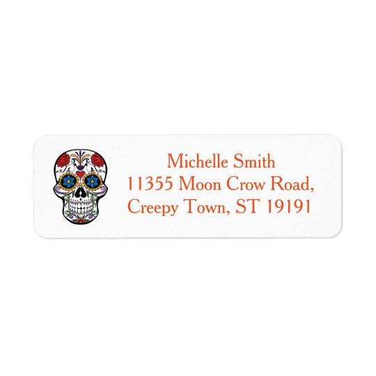 Cráneo floral de encargo personalizado Halloween Etiquetas De Remite