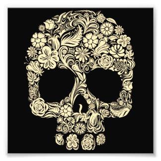 Cráneo floral del azúcar del vintage impresiones fotográficas