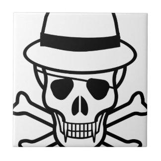 cráneo-gorra azulejo cuadrado pequeño