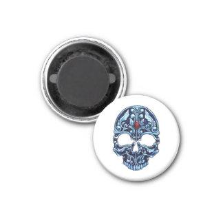 Cráneo gótico del dibujo animado del tatuaje del m imán redondo 3 cm