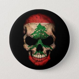 Cráneo libanés de la bandera en negro chapa redonda de 7 cm
