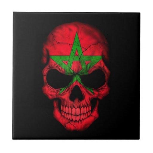 Cráneo marroquí de la bandera en negro teja  ceramica