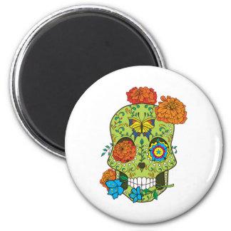 Cráneo mexicano del azúcar del tatuaje subió en imán redondo 5 cm