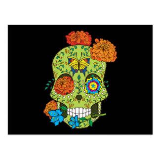 Cráneo mexicano del azúcar del tatuaje subió en postal