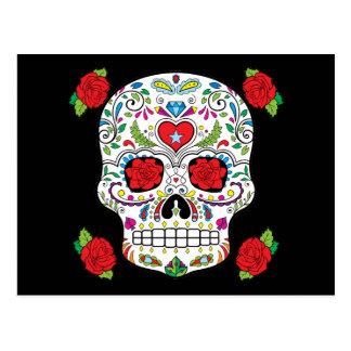 Cráneo mexicano del azúcar del tatuaje y rosas postal
