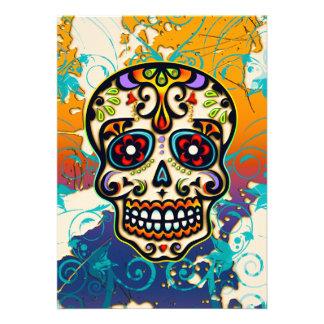 Cráneo mexicano del azúcar día de los muertos invitación