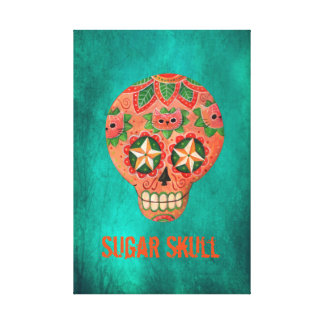Cráneo mexicano rojo del azúcar lona envuelta para galerias