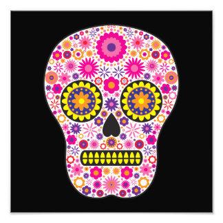 Cráneo mexicano rosado del azúcar impresiones fotograficas