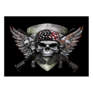 Cráneo militar con la guerra cruzada del Special Tarjetas De Visita Grandes