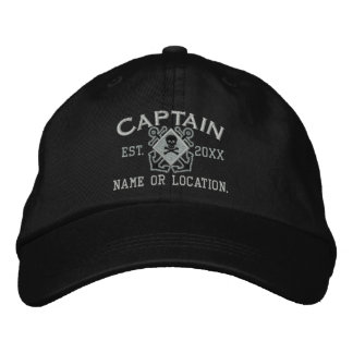 Cráneo náutico personalizado del capitán de mar gorra bordada