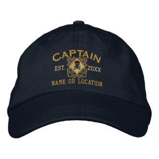 Cráneo náutico personalizado del capitán de mar gorra de beisbol
