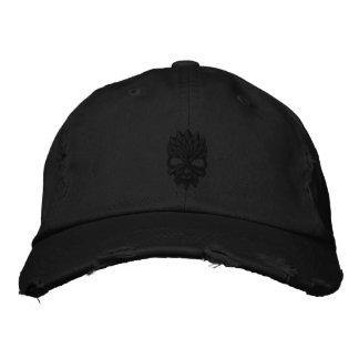 Cráneo negro gorra de beisbol bordada