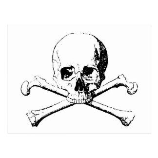 Cráneo negro y blanco y los huesos postal